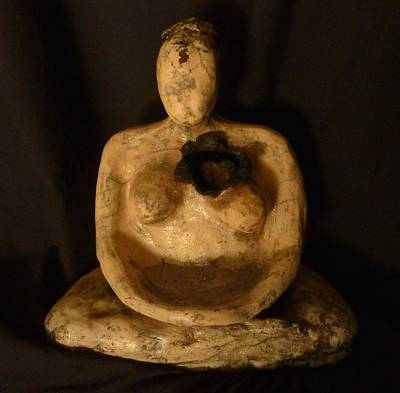 Sculpture - Meditative Woman Open Heart by Susan M Woods