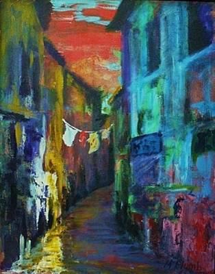 Tuscan Sunset Painting - Mediterranean Dusk by Margaret  Plumb