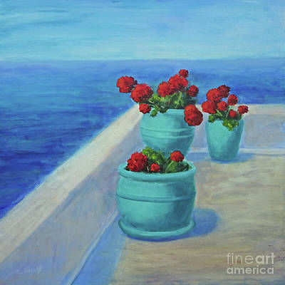 Painting - Mediterranean Geraniums by Carolyn Jarvis