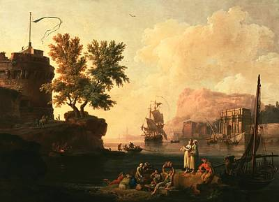 Barrel Painting - Mediterranean Harbor Scene by Pierre-jacques Volaire