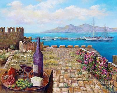 Painting - Mediterranean Picnic Kos Greece  by Lou Ann Bagnall