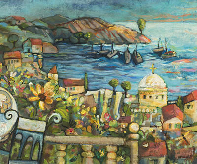 European Church Painting - Mediterranean Seascape 2 by Jen Norton