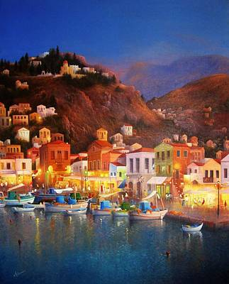 Symi Painting - Symi Harbour Lights by Ray Gilronan