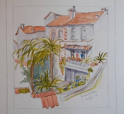 Mediterranean Villa Art Print by Janet Butler