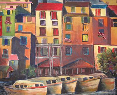 Mediterranean Waterfront Print by Sharon Casavant