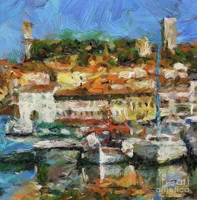Ship Painting - Mediterranean Harbor by Dragica Micki Fortuna