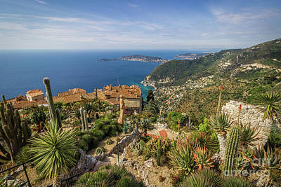 Arial View Photograph - Mediterranean View From Eze Cactus Garden by Liesl Walsh