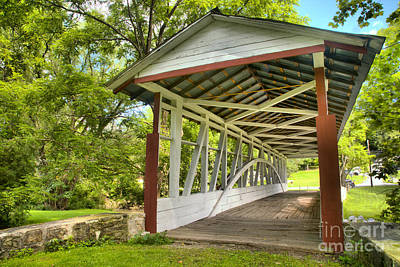 Photograph - Medium Burr Truss Dr. Knisely Covered Bridge by Adam Jewell