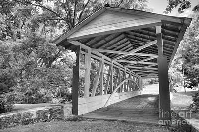Photograph - Medium Burr Truss Dr. Knisely Covered Bridge Black And White by Adam Jewell
