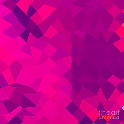 Medium Violet Red Abstract Low Polygon Background Art Print by Aloysius Patrimonio
