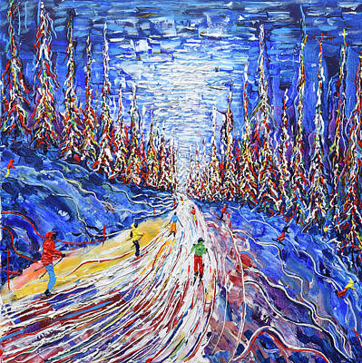 Switzerland Painting - Medran Etierces Piste Verbier by Pete Caswell