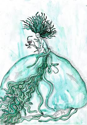 Gorgon Drawing - Medusa by Anna Troian