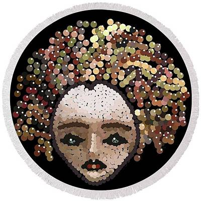 Digital Art - Medusa Bedazzled Round Beach Towel by R  Allen Swezey