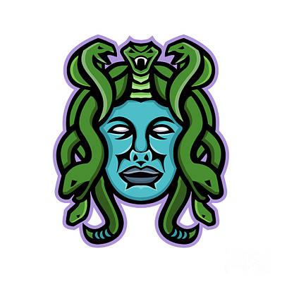 Gorgon Wall Art - Digital Art - Medusa Greek God Mascot by Aloysius Patrimonio