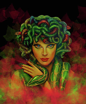 Painting - Medusa - Greek Mythology  by Richa Malik