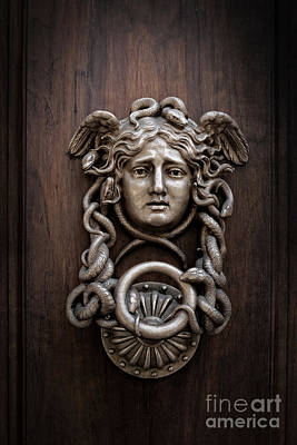 Medusa Head Door Knocker Print by Edward Fielding