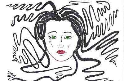 Wall Art - Drawing - Medusa Remembers by Helen Krummenacker