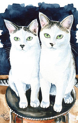 Painting - Meeka And Vincent - Twin Cat Brothers by Dora Hathazi Mendes