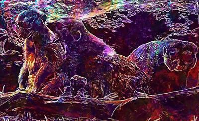 Digital Art - Meerkat Zoo Lazy Nature Animal  by PixBreak Art