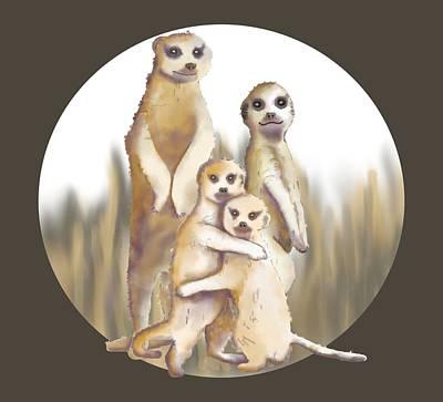 Digital Art - Meerkats  by April Burton
