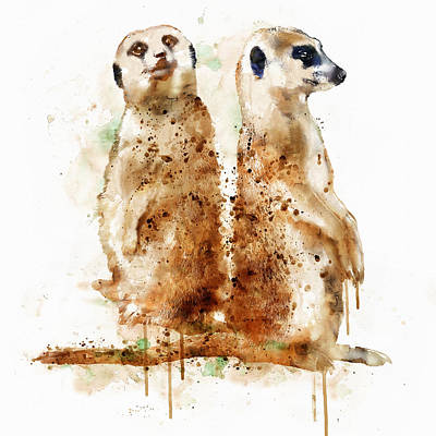 Meerkat Wall Art - Painting - Meerkats by Marian Voicu
