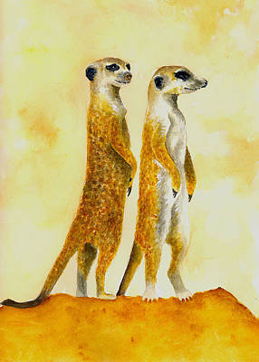 Meerkat Wall Art - Painting - Meerkats by Michael Vigliotti