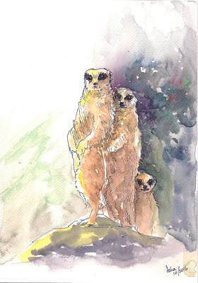 Painting - Meerkats On Watch by Asha Sudhaker Shenoy