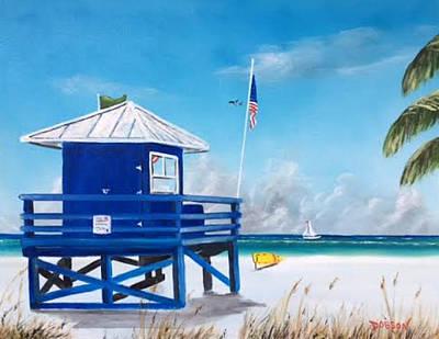 Meet At Blue Lifeguard Art Print