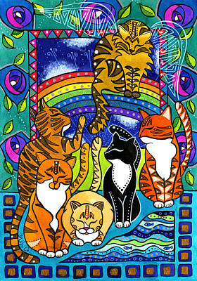 Painting - Meet Me At The Rainbow Bridge - Cat Painting by Dora Hathazi Mendes