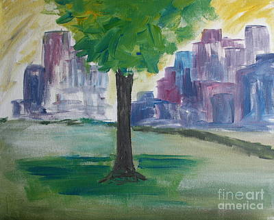 Painting - Meet Me By Our Tree In Central Park by Julie Lueders