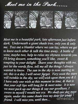 Drawing - Meet Me In The Park Poem by Carla Carson