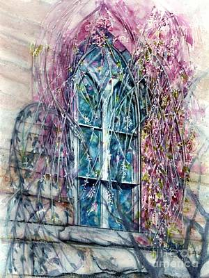 Painting - Meet Me In The Springtime - Stained Glass Window  by Janine Riley