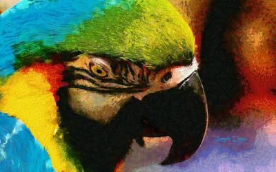 Yellow Beak Painting - Meet The Brazilian Arara by Leonardo Digenio