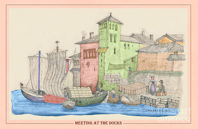 Painting - Meeting At The Docks Classic by Donna Munro