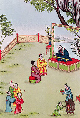 Meeting Between Confucius And Lao Tzu Art Print by Chinese School