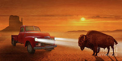 Route 66 Mixed Media - Meeting In The Sunset On Route 66 by Monika Juengling