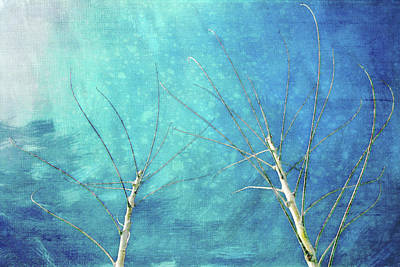 Snowy Trees Mixed Media - Meeting In Winter by Terry Davis