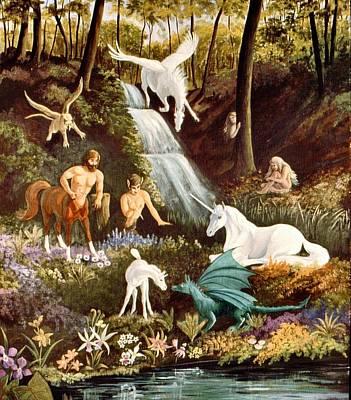 Faun Painting - Meeting Of Myths by Barbara Walker