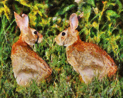 Painting - Meeting Of The Bunnies by Jai Johnson