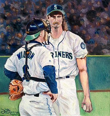Baseball Hall Of Fame Painting - Meeting On The Mound by Donovan Furin