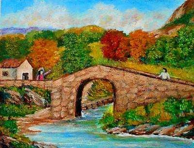 Painting - Meeting On The Old Bridge by Constantinos Charalampopoulos