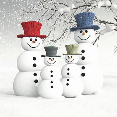 Painting - Meeting The Snowmen Family by Jan Keteleer