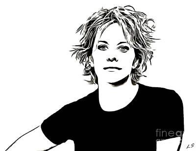 Drawing - Meg Ryan Collection - 1 by Sergey Lukashin