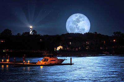 Photograph - Mega Moon Over Mantanzas River And St Augustine Lighthouse by Justin Kelefas