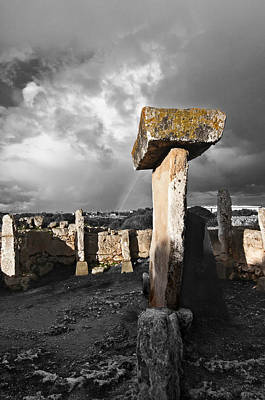 Photograph - Megalithic Building Taula In Trepuco Menorca Bronze Age Selective Color by Pedro Cardona Llambias