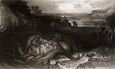 Pterodactyle Photograph - Megalosaurus And Iguanodon, Martin, 1838 by Paul D. Stewart