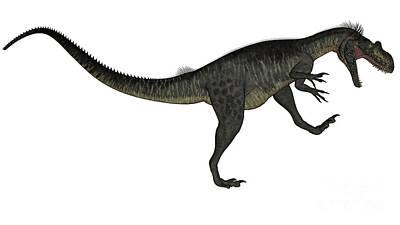 Lady Bug - Megalosaurus Dinosaur Roaring, White by Elena Duvernay