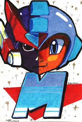 Versus Drawing - Megaman Vs. Zero by Ben Shurts