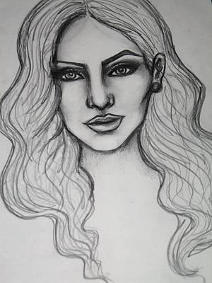 Megan Fox Drawing - Megan Fox Stylized Fashion Portrait by Dana Biviano
