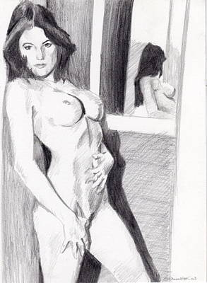 Drawing - Megan-mirror by Stephen Panoushek